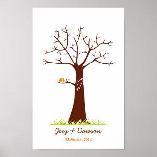 Fingerabdruck-Baum-HochzeitGuestbook (weiß) Poster