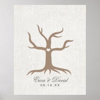 Fingerabdruck-Hochzeitguestbook-Baum-nobles Leinen Poster