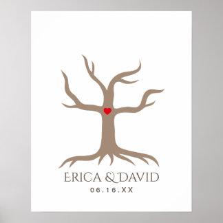 Fingerabdruck-Hochzeits-Gast-Buch-Baum Poster