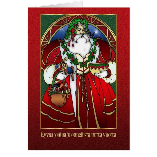 Finnische Weihnachtskarte - Weihnachtsmann - Hyvää Grußkarte