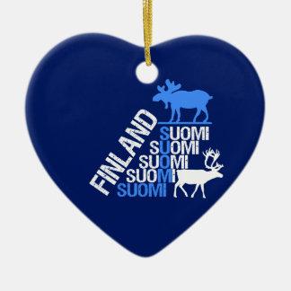 Finnlandelch- u. -renverzierung - fertigen Sie Keramik Herz-Ornament