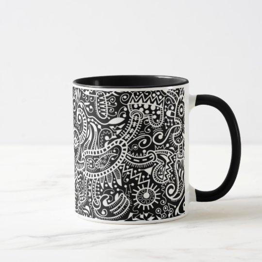 """""""Fira"""" Tasse, weiß auf Schwarzem Tasse"""