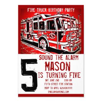 Fire Truck Engine Firefighter Birthday Invitations 12,7 X 17,8 Cm Einladungskarte