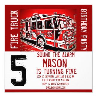 Fire Truck Engine Firefighter Birthday Invitations Karte