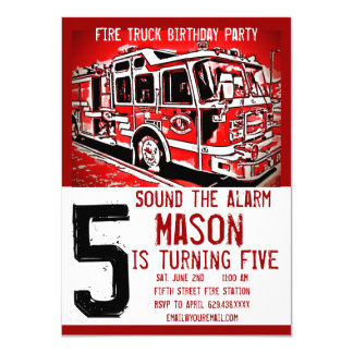 Fire Truck Firefighter Kids Birthday Invitations Karte