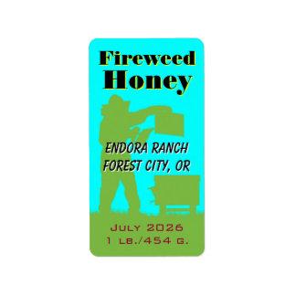 Fireweed-Honig-personalisierter Imker Adressaufkleber