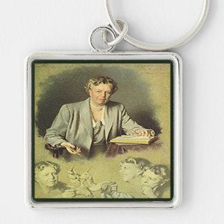 First Lady Anna Eleanor Roosevelt Silberfarbener Quadratischer Schlüsselanhänger