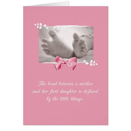 Firstborn-Mädchen-Glückwunsch-Baby-Fuß-Rosa-Bogen Grußkarte