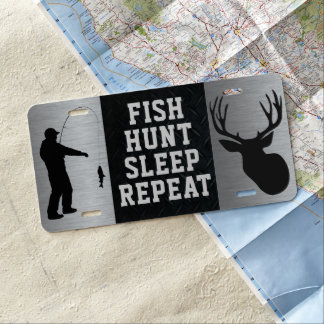 Fisch-Jagd-Schlaf-Wiederholungs-Kfz-Kennzeichen US Nummernschild
