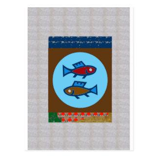 FISCH-MEERJUNGFRAU-FISCHEN-FISCHEReinzigartige Postkarte