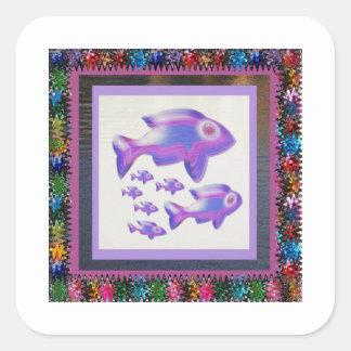 FISCHE Haustier-Aquarium-Dekorationen Quadratischer Aufkleber