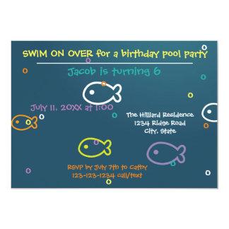 Fische u. Blasen - Geburtstags-Pool-Party 12,7 X 17,8 Cm Einladungskarte