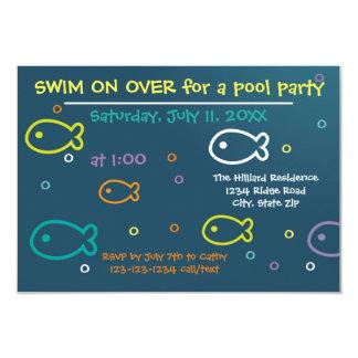 Fische u. Blasen - Party Einladung des Pool-3x5
