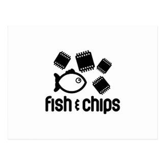 Fische u. Chips Postkarte