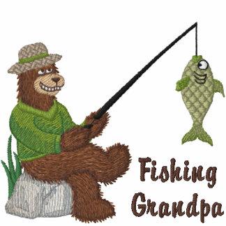 Fischen-Großvater-Bär Bestickte Polos