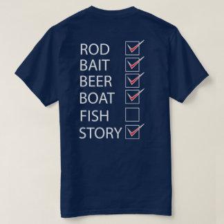 Fischen-Karo weg von der Liste auf hinterem T-Shirt