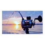 Fischen-Spule am Sonnenuntergang Visitenkarten Vorlage