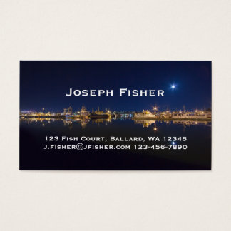 Fischer am Ende nachts in Ballard, Seattle Visitenkarten