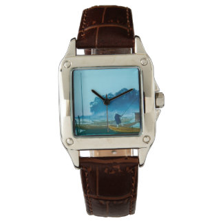 Fischer an Dämmerungs-Vintager Japan-Hand gefärbt Armbanduhr