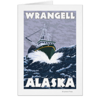 Fischerboot-Szene - Wrangell, Alaska Karte