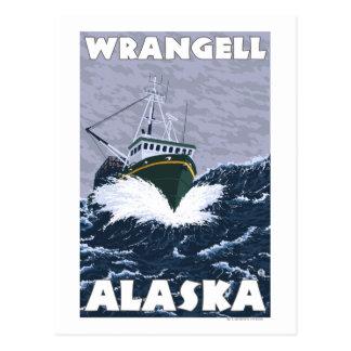 Fischerboot-Szene - Wrangell, Alaska Postkarte
