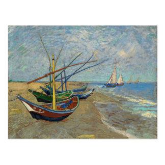 Fischerboote auf dem Strand durch Van Gogh Postkarte