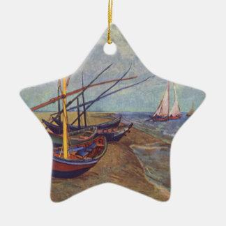 Fischerboote auf dem Strand durch Vincent van Gogh Keramik Ornament