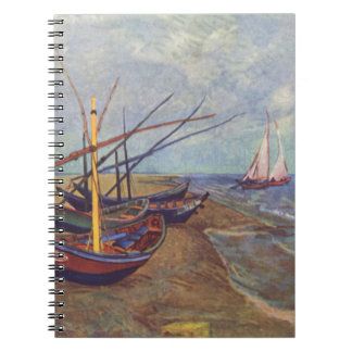 Fischerboote auf dem Strand durch Vincent van Gogh Spiral Notizblock