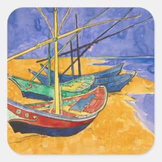 Fischerboote Vincent van Goghs   auf dem Strand Quadratischer Aufkleber