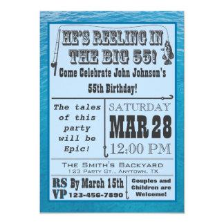 Fischerei der 55. Geburtstags-Einladung mit Wasser 12,7 X 17,8 Cm Einladungskarte