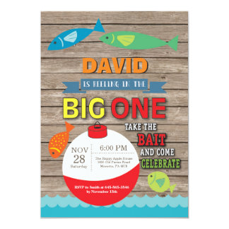 Fischerei erste Geburtstags-Einladung großes 12,7 X 17,8 Cm Einladungskarte