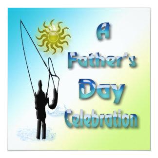 Fischerei - glückliche der Vatertags-Einladung Quadratische 13,3 Cm Einladungskarte