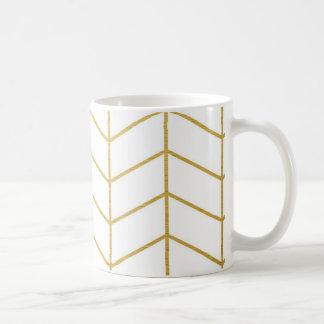 Fischgrätenmuster-Muster-Imitat-Goldfolien-weißes Kaffeetasse