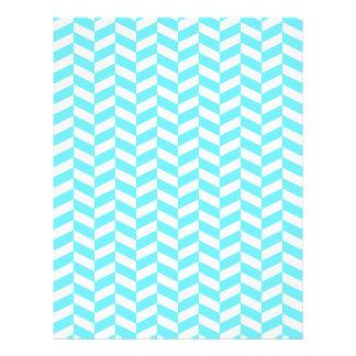 Fischgrätenmuster-weißes helles blaues 21,6 x 27,9 cm flyer