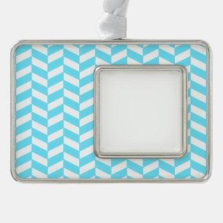 Fischgrätenmuster-weißes helles blaues Rahmen-Ornament silber