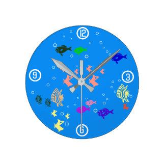 Fishbowl Runde Wanduhr