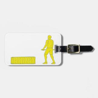 Fitness-Athleten-Hammerworkout-Zeichnen Gepäckanhänger