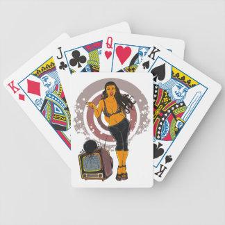 Fitness-FrauenWorkout FernsehBowlings-Schwarzes Bicycle Spielkarten