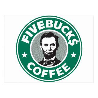Fivebucks Kaffee Postkarte