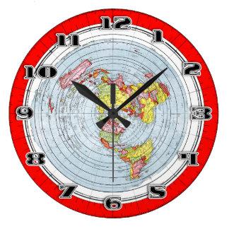 Flache ErdeGleasons neue Standardkarte der Welt Große Wanduhr