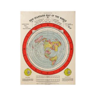 Flache ErdeGleasons neue Standardkarte der Welt Holzposter