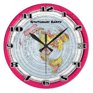 Flache ErdeGleasons stationäre Karte der Welt Große Wanduhr