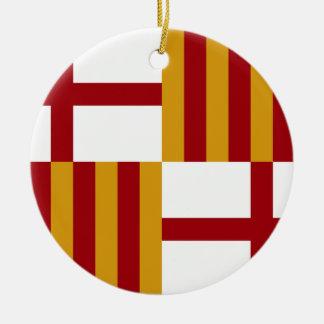 Flagge Barcelonas (Spanien) Rundes Keramik Ornament