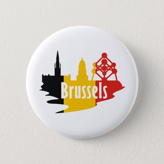 Flagge Brüssel Runder Button 5,1 Cm