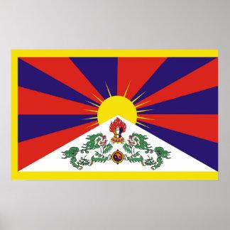 Flagge der Tibet- oder Schnee-Löwe-Flagge Poster