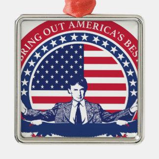 Flagge Donald Trump 2016 mit Porträt Silbernes Ornament