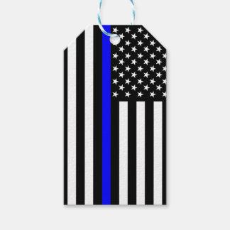 Flagge-dünne Blue Line-Erinnerung auf a Geschenkanhänger