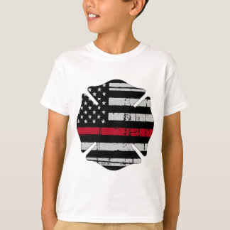Flagge-Feuerwehrmann-Kreuz-dünne rote Linie T-Shirt