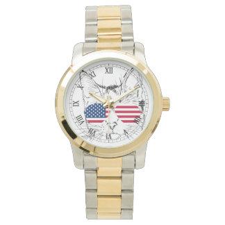 Flagge-Katzenuhr Uhr