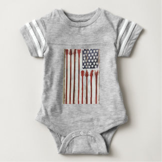 Flagge-patriotisches Gitarren-Musikthema Baby Strampler